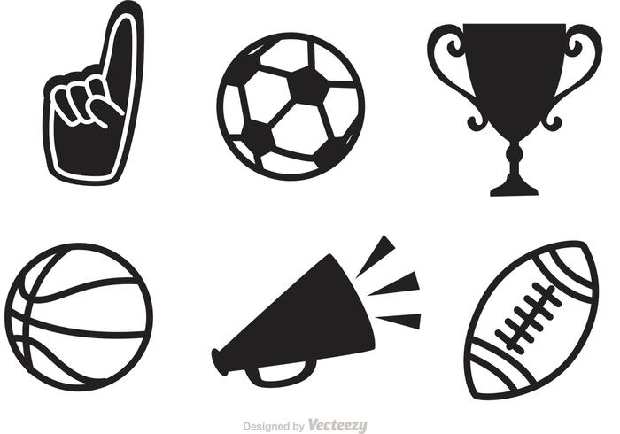 Black Sports Vector Icons.