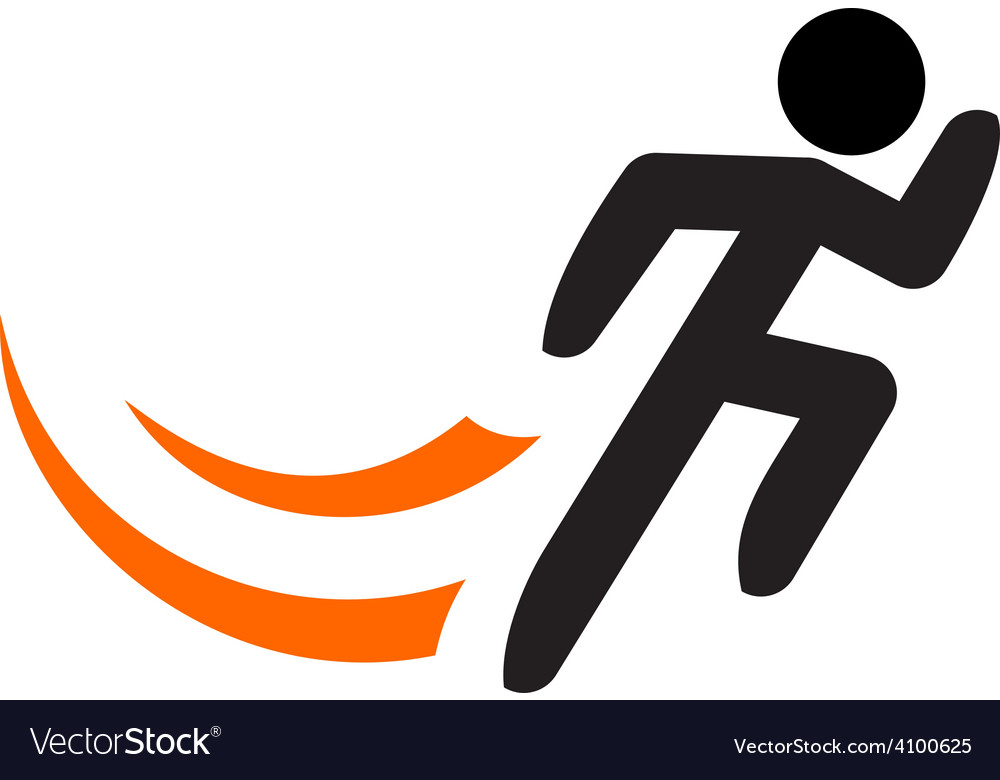 Running man logo template Black sportsman.