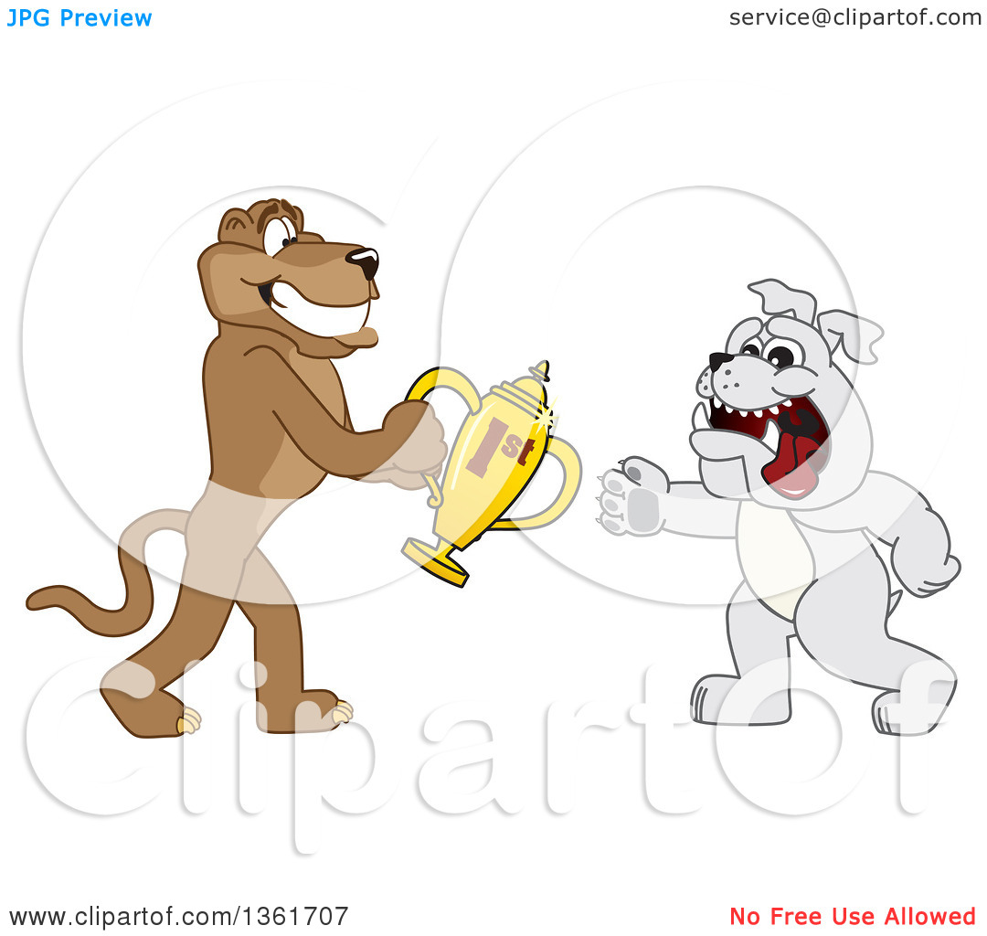 Clipart of a Cougar School Mascot Character Giving a First Place.