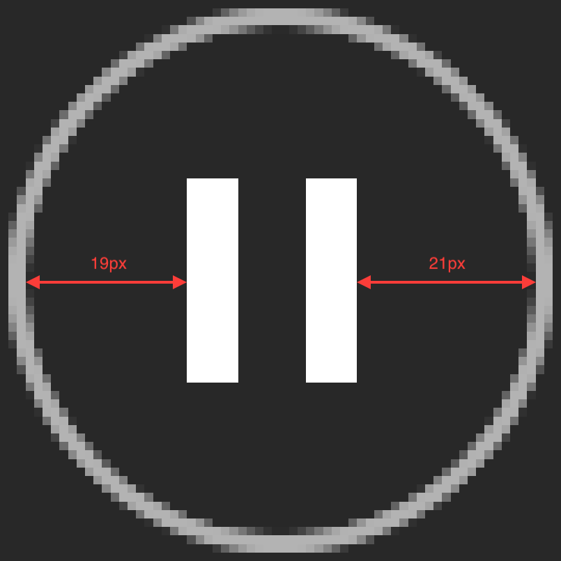 The pause button icon in Spotify is off.