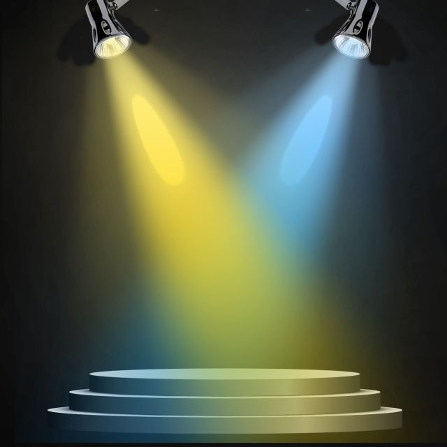 Colorful Stage Spotlight Effect With Stage Surface.