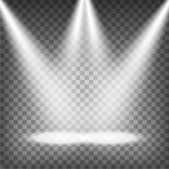 Spotlights illuminated on transparent background Vector.