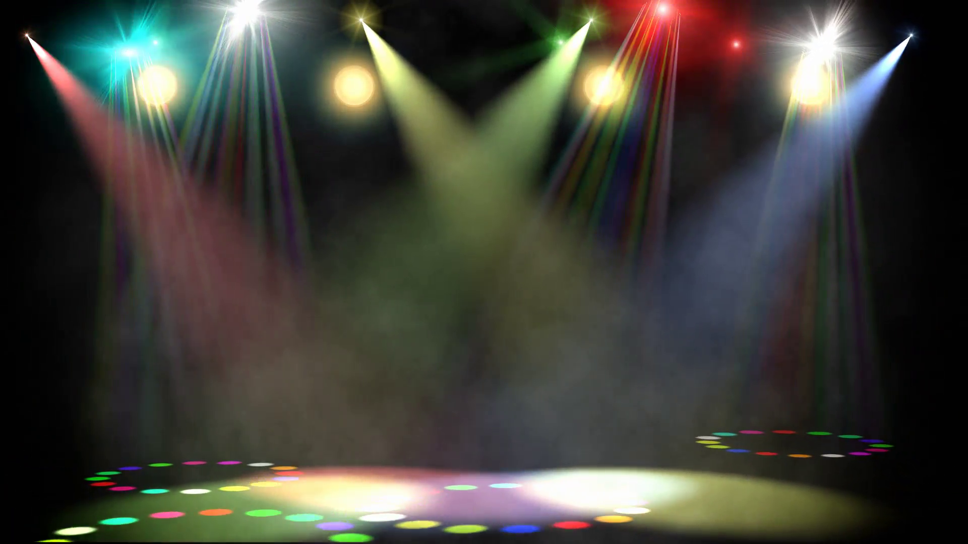Swirling Colored Stage Spotlights.