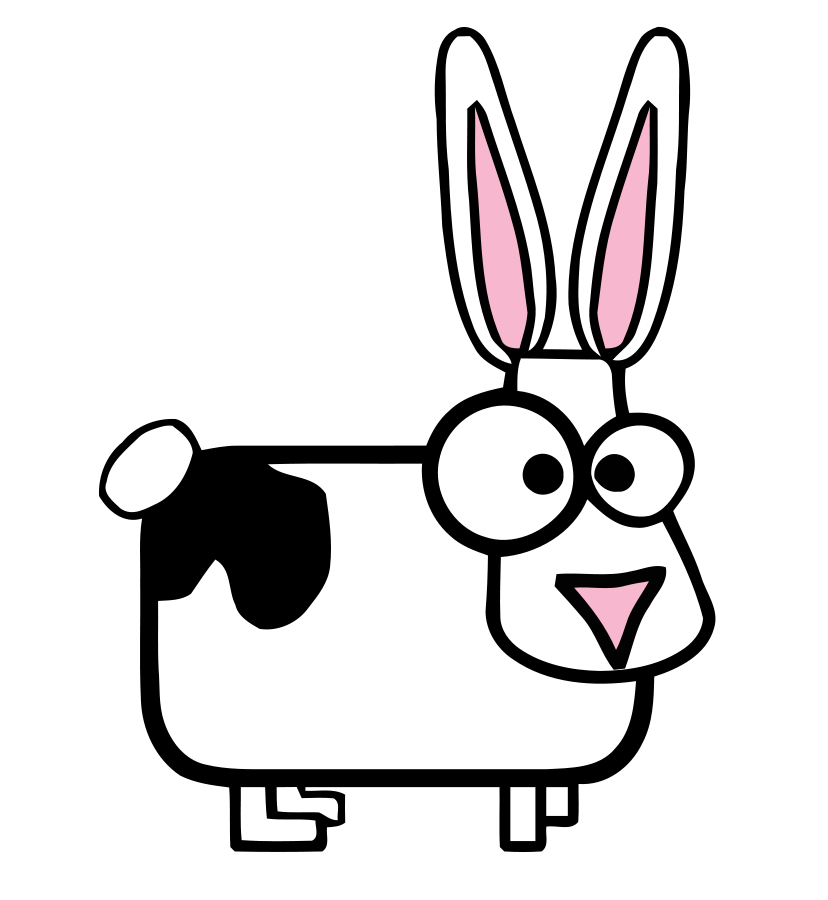 White bunny with black spot Clipart, vector clip art online.