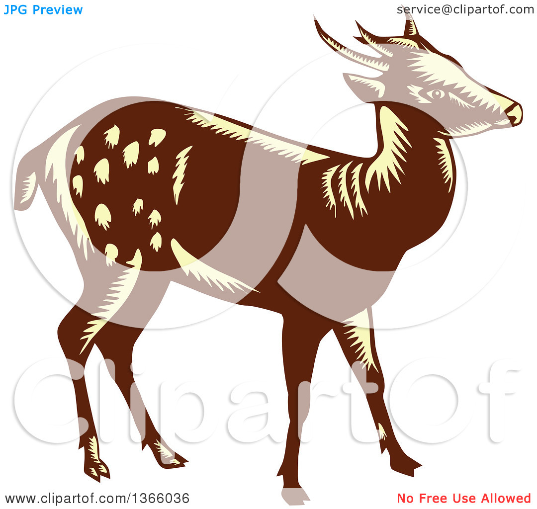 Clipart of a Retro Woodcut Brown and Yellow Visayan or Philippine.