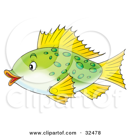 Clipart Illustration of a Cute Green Spotted Fish With Yellow Fins.