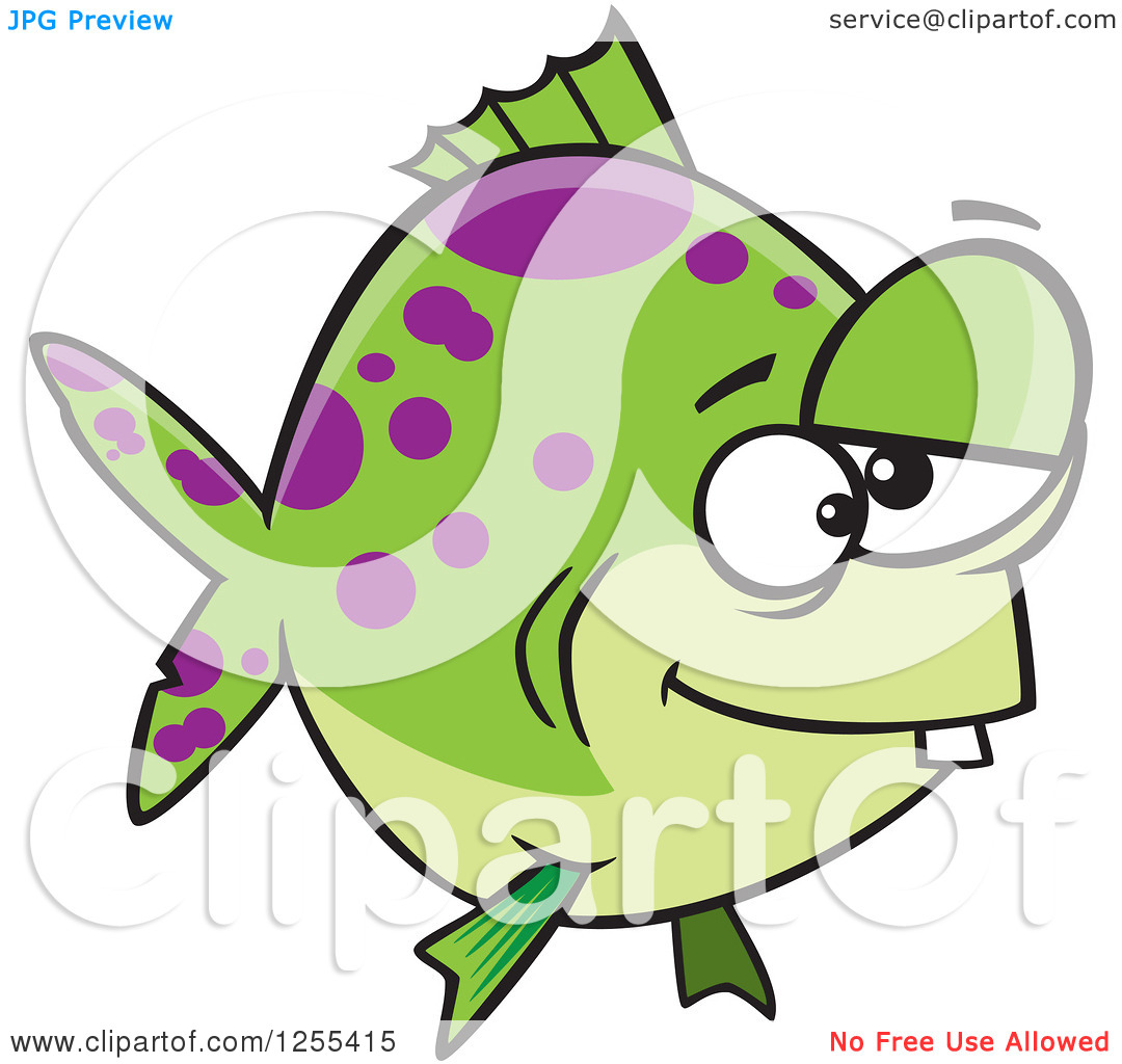 Clipart of a Green and Purple Spotted Dopey Fish.