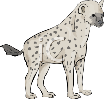 Royalty Free Clip Art Image: Spotted Hyena Standing.