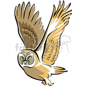 Black and white image of great horned owl perched clipart.