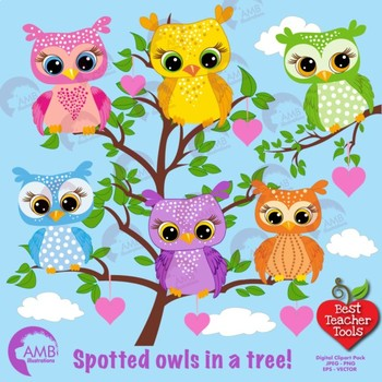 Owl clipart, Spotted Owls cliparts, Owls in trees, AMB.