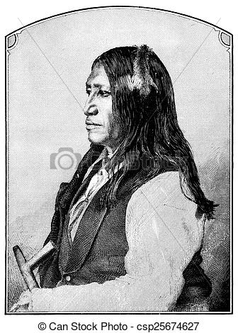 Clip Art of Spotted Tail Sioux chief.