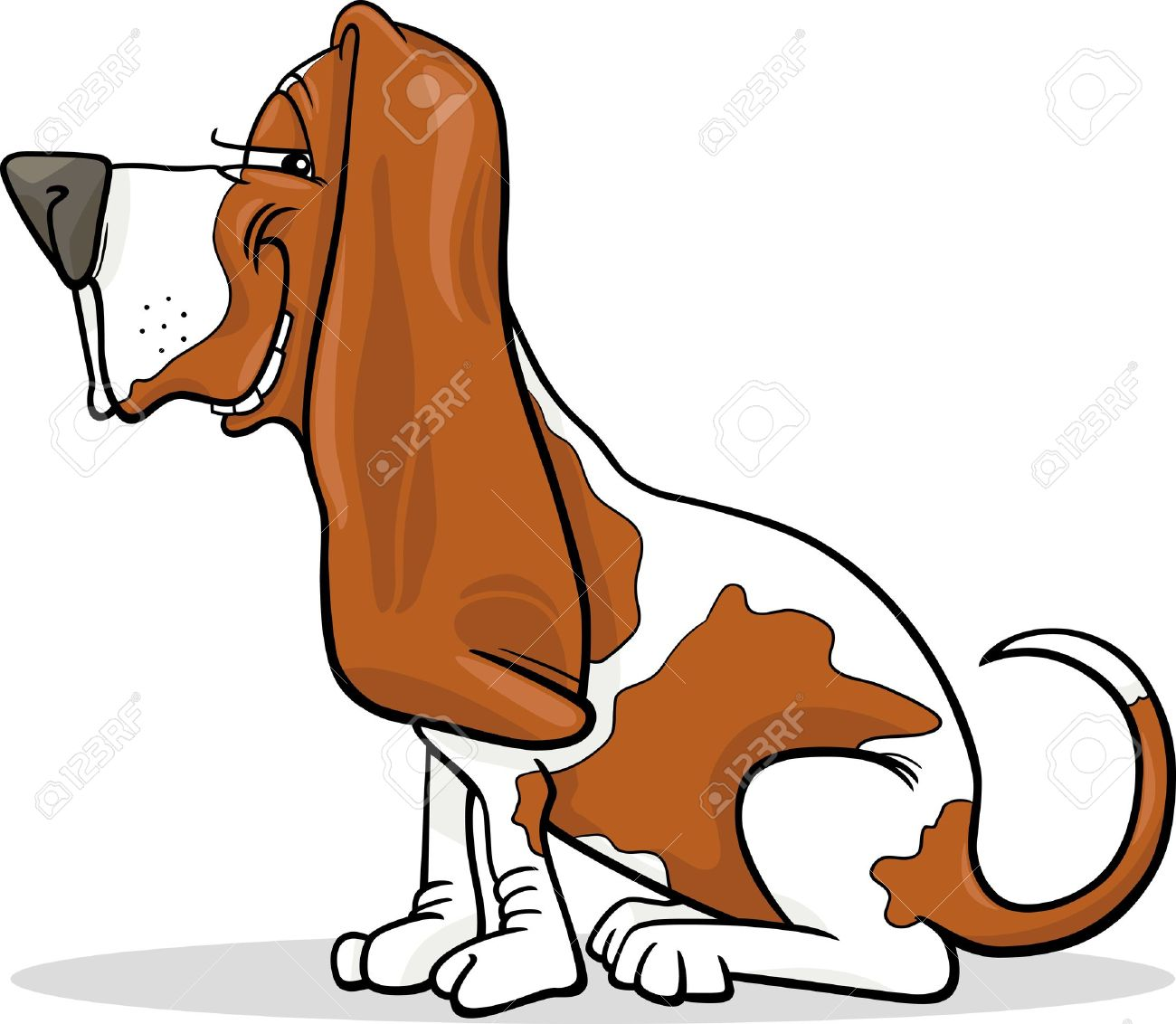 Cartoon Illustration Of Funny Purebred Spotted Basset Hound Dog.