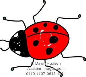 Clipart Image of A Cartoon Red Spotty Ladybug.