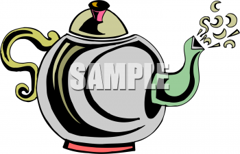 A Teapot With Steaming Spout Clipart Image.