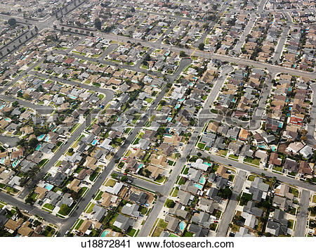 Stock Photography of Aerial view of sprawling Southern California.