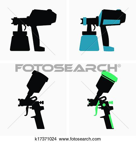 Spray gun Clip Art and Illustration. 687 spray gun clipart vector.
