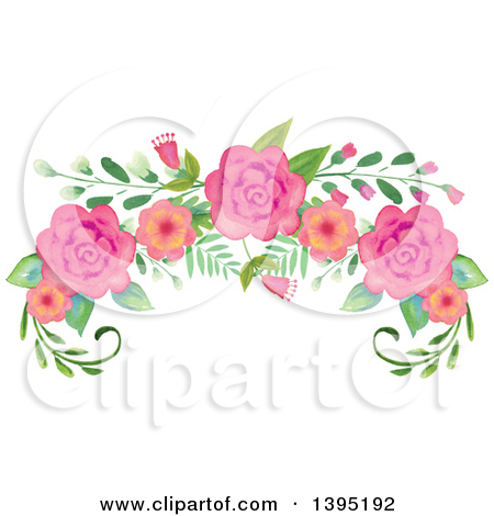Clipart of a Watercolor Floral Spray Topper of Roses.