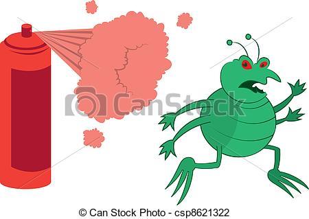 Vector Illustration of Green Bug Sprayed.