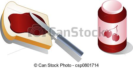 Stock Illustration of Bread with spread peanut butter Isometric 3d.