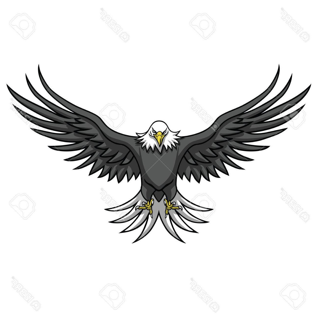 Best Eagle Wings Spread Clipart Black And White Vector.