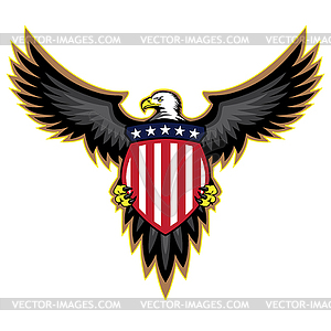 Patriotic American Eagle, Wings Spread, Holding Shield.