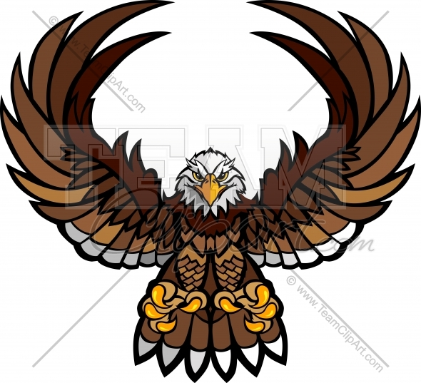 Eagle Mascot Clipart with Spread Wings and Talons Vector File.