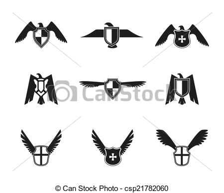 Clip Art Vector of Eagle Icon Shield Set.