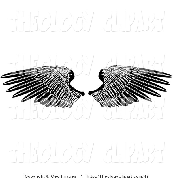 Clip Art of Black Angel Wings Spread out and Fully Opened by.