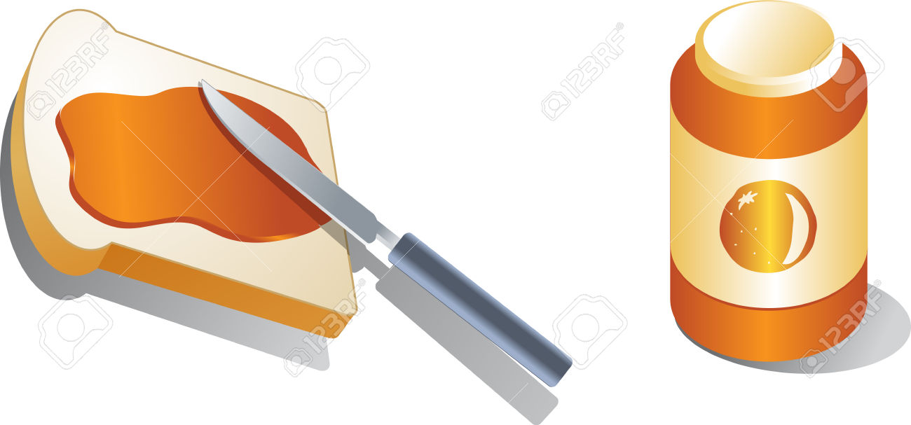 Bread With Spread Marmalade Isometric 3d Illustration Stock Photo.