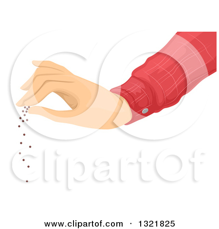 Clipart of a Hand Spreading Seeds.