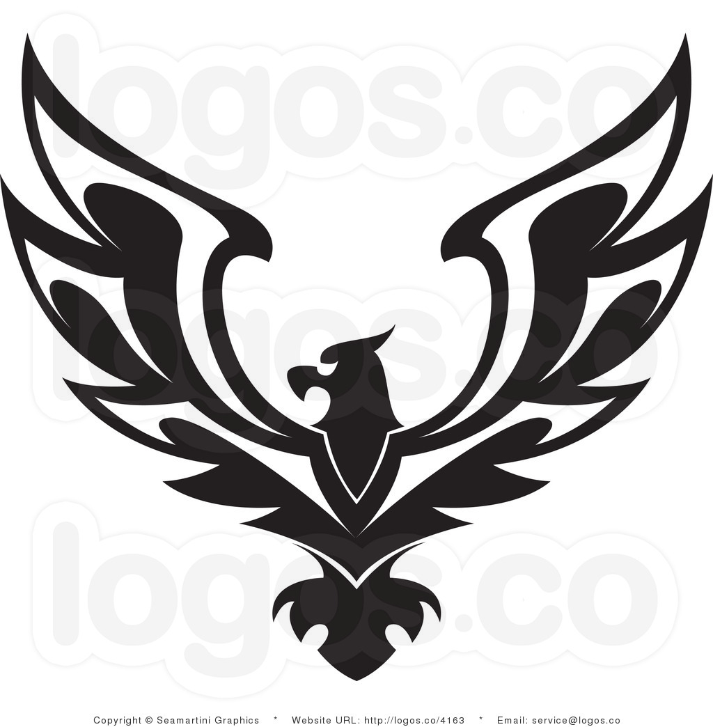 Eagle Wings Spread Clipart Black And White.