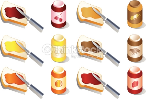 Various Spreads And Jams Vector Art.