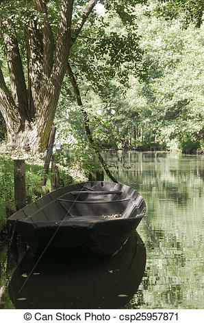 Picture of River boat at Spreewald, a biosphere reserve in Germany.