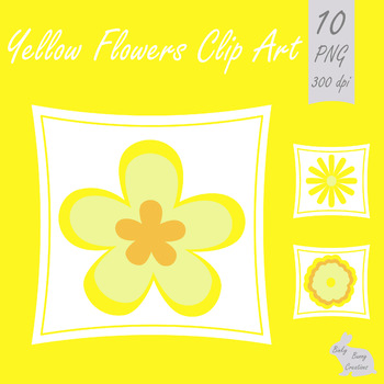 Flowers Clip Art Yellow Spring Summer Clipart.