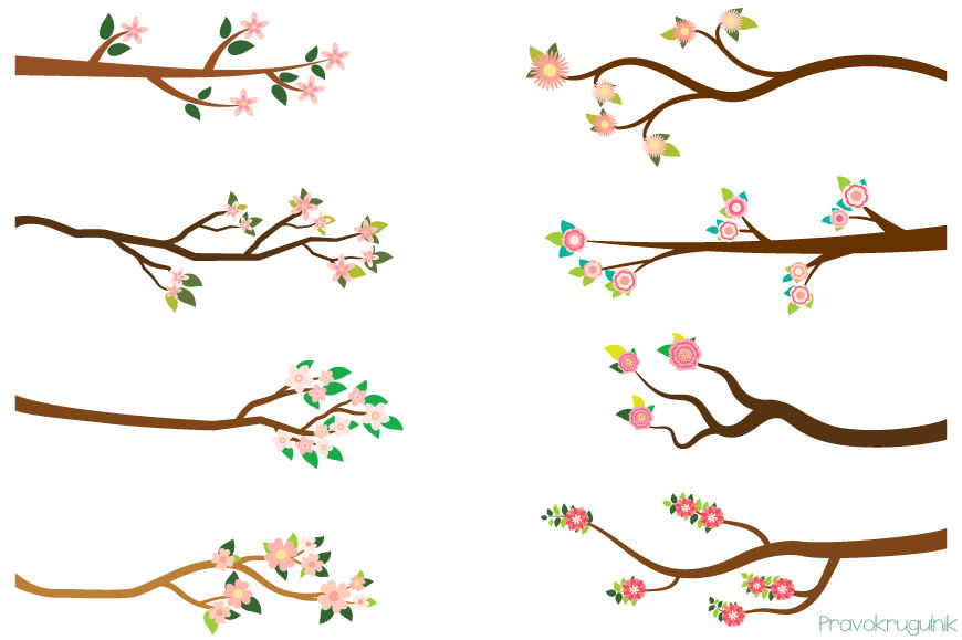 Pink flower branches clipart, Spring summer tree branch clip.