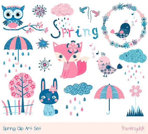 Cute spring animal clipart set, Kawaii spring clip art, Blue.