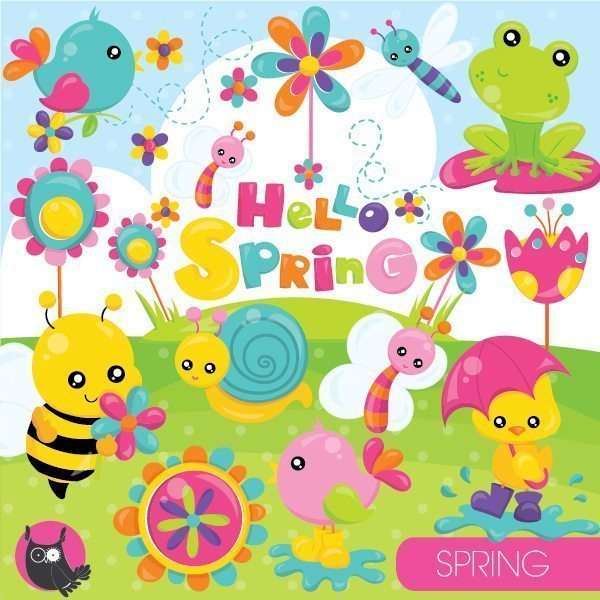 Spring animals clipart.