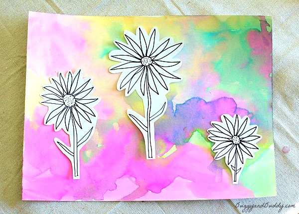 Spring Art Projects: Flowers on Watercolor Background.
