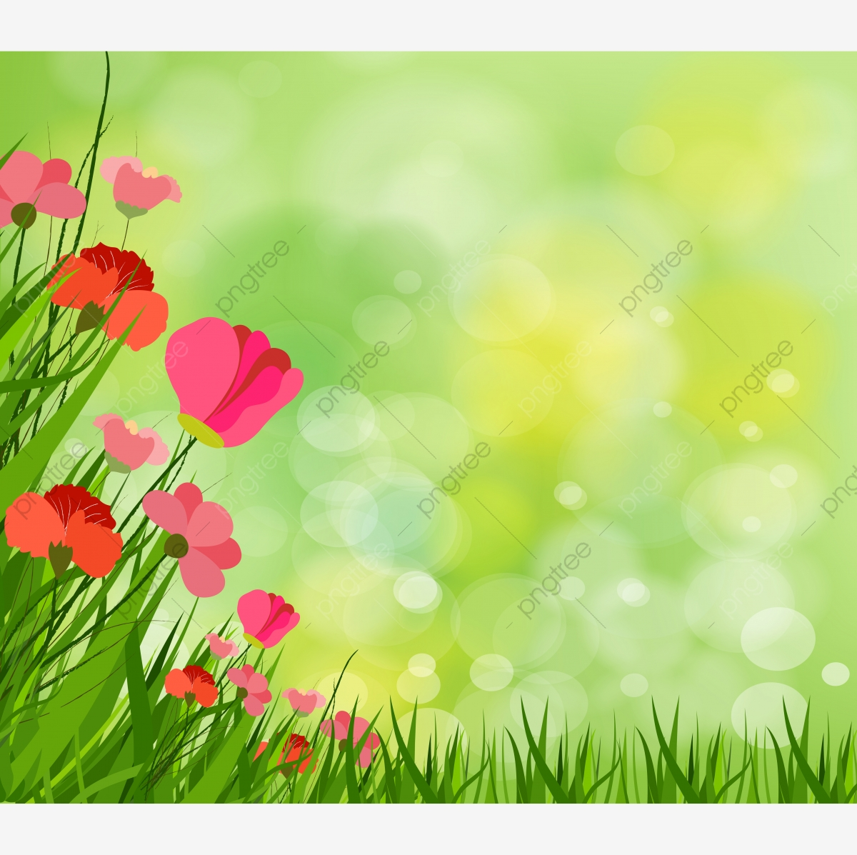 Gorgeous Spring Background With Grass Multiple Bokehs.