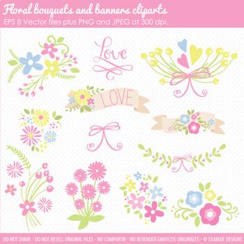 Floral clipart, spring clipart, floral bouquet clipart, floral banner  clipart.