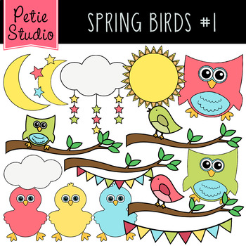 Spring Birds Clipart #1, Easter Clipart, Petie Studio Clipart (Animals101).
