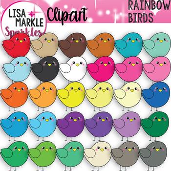 Rainbow Spring Bird Clipart.