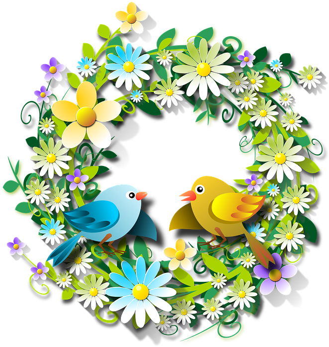 Flowers, Floral, Flowery, Spring, Birds , Transparent.
