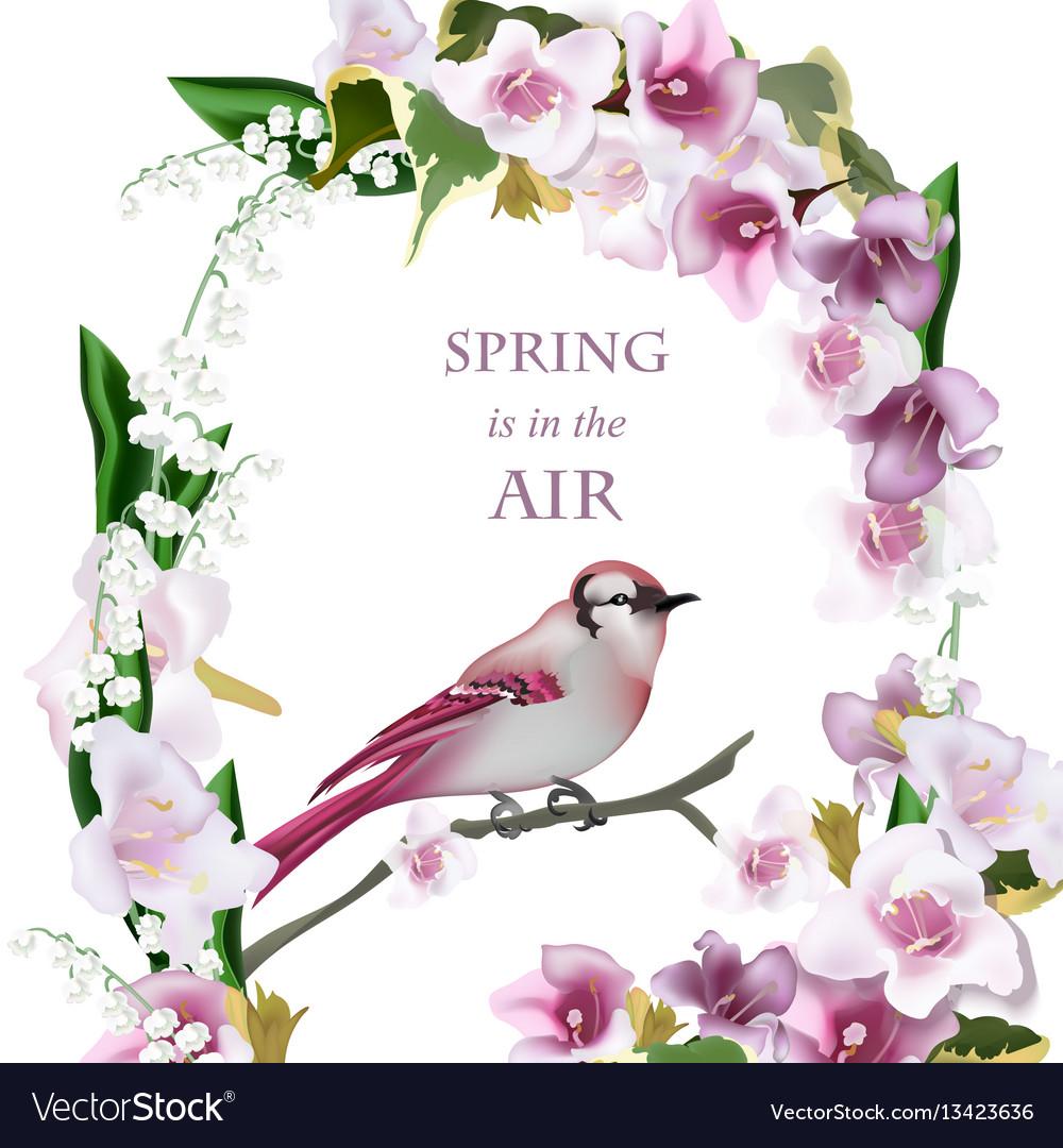 Spring bird on blossom cherry tree branch.