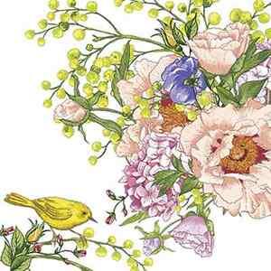 Details about 20 Paper Napkins BIRD ON FLOWER Decoration Birds Flower  Spring Decoupage 33x33cm.