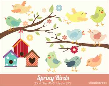 Cloudstreetlab: Cute Spring Birds Clip Art.