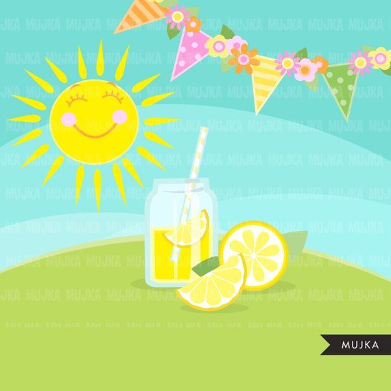 Lemonade Stand clipart. Cute spring summer birthday graphics.