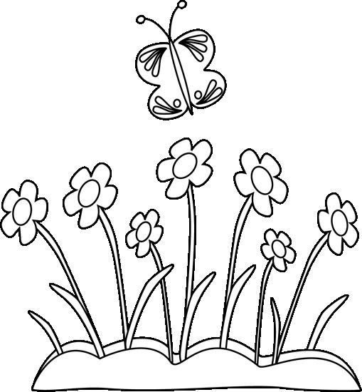 7+ Spring Clip Art Black And White.