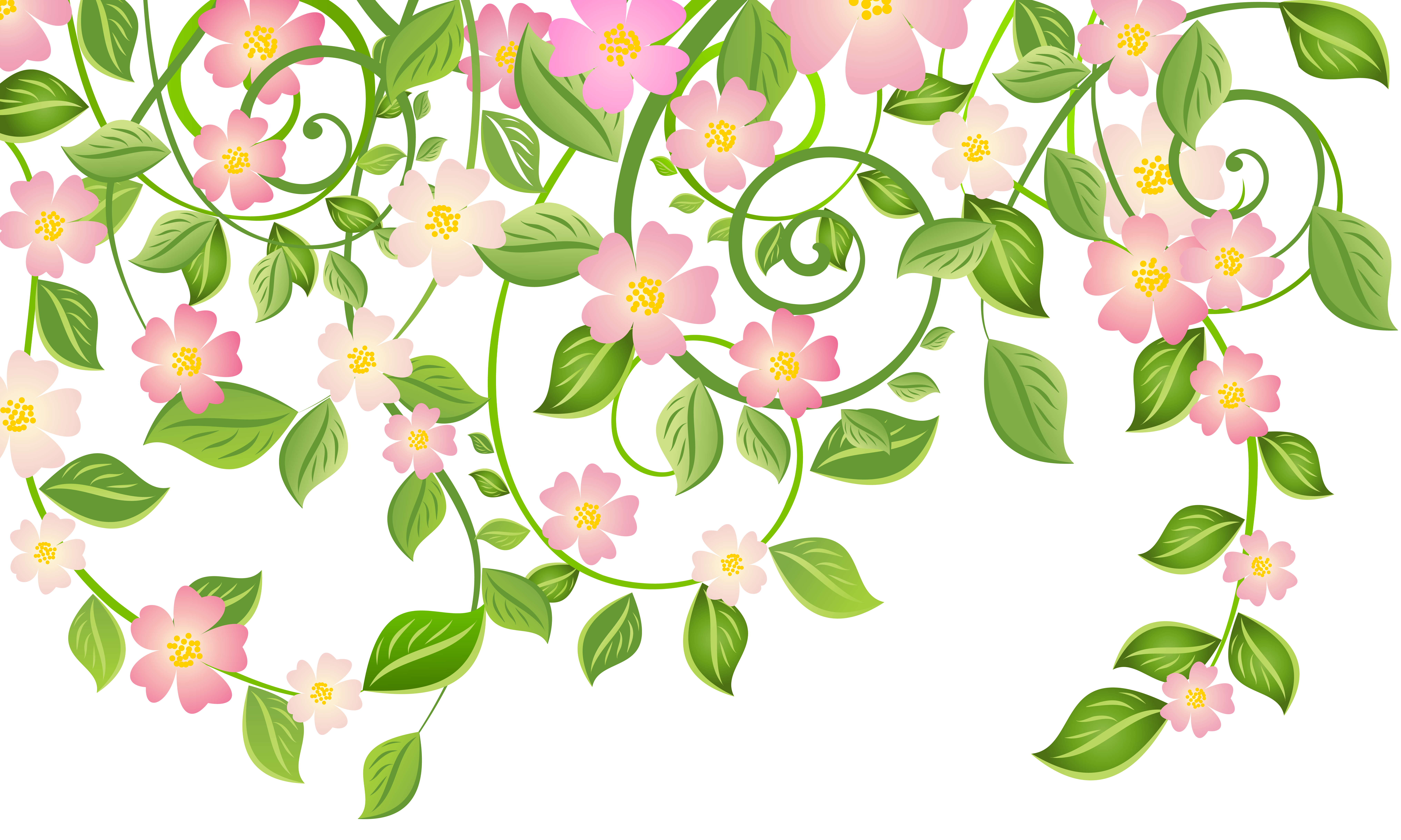 Spring Blossom Decoration with Leaves Transparent PNG Clip Art Image.