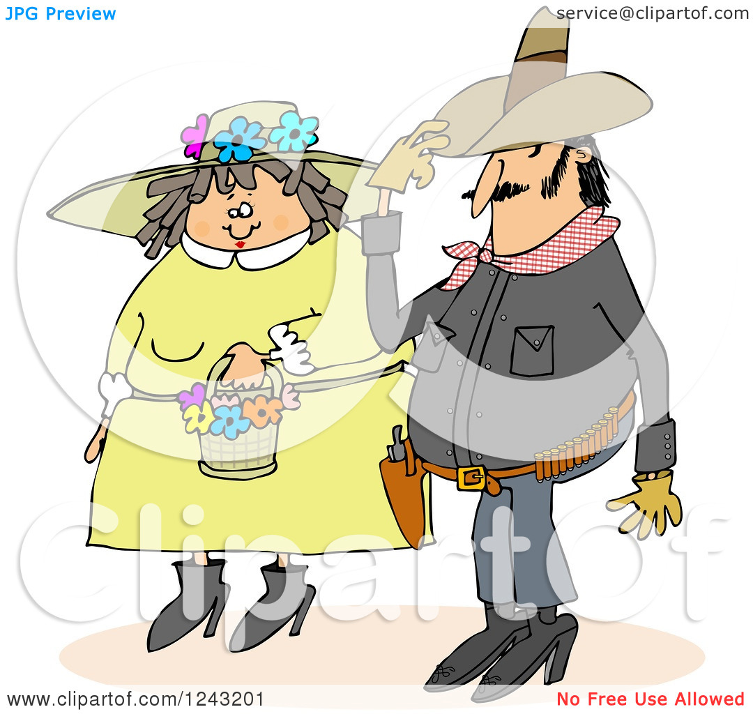 Clipart of a Cowboy and Chubby Caucasian Woman in a Spring Bonnet.